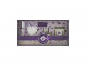 Osvěžovač vzduchu, sada 50 ml difuzér, 10 ml jílový difuzér, svíčka - Lavender