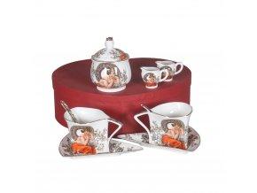 Porcelánová sada na čaj a kávu - Mucha