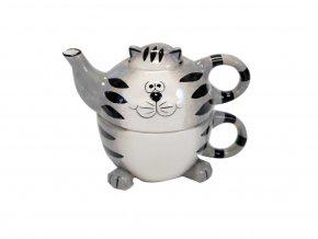 Keramická čajová souprava Kočka 3 dílná, II. jakost