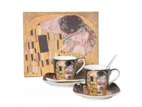 Espresso set – šálky s podšálky a lžičkami - Klimt, II. jakost
