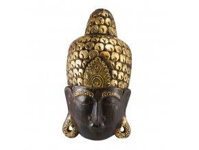Dřevěná maska buddhy - velká, hnědo-zlatá, II. jakost
