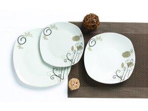 Jídelní sada hranatých talířů, 18 ks, Louka