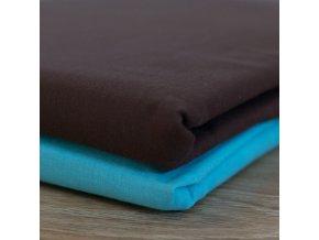 Bavlněné povlečení, čokoládově hnědá + modrá, jednolůžko