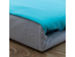 Francouzské bavlněné povlečení, šedá + modrá, 220 x 200 cm+ 2 x 70 x 90 cm