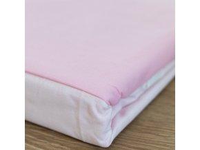 Francouzské bavlněné povlečení, bílá + růžová, 220 x 200 cm, 2 ks polštářů