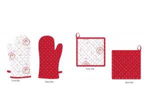 Kuchyňská sada - chňapka a podložka, Elegant puntíky červené