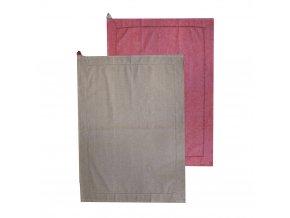 Utěrka z recyklované bavlny, 2 ks, 50 x 70 cm, béžová + červená