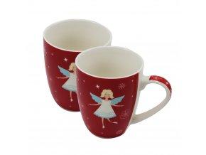 Vánoční hrnek 340 ml , andílek, červený, Sada 2 ks