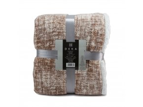 Mikroflanelová deka s beránkem, 150 x 200 cm, hnědý melír