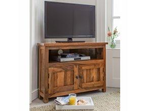 TV stolek rohový Rami 110x70x50 z indického masivu palisandr, barva Světle medová
