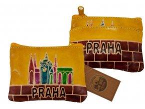 Dámská kožená peněženka na mince - Praha, žlutá