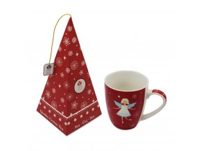 Vánoční hrnek s andílkem, 340 ml + Černý čaj - Brusinka, Jablko