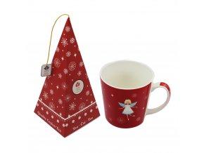Vánoční hrnek s andílkem, 500 ml + Černý čaj - Brusinka, Jablko
