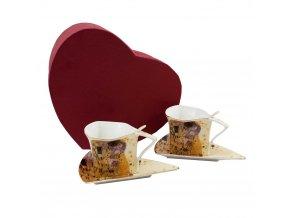Sada dvou šálků s podšálky a lžičkami, Klimt