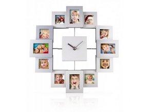 Nástěnné hodiny s fotorámečky hranaté