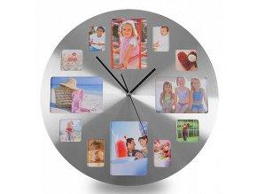 Nástěnné hodiny s fotorámečky kruhové
