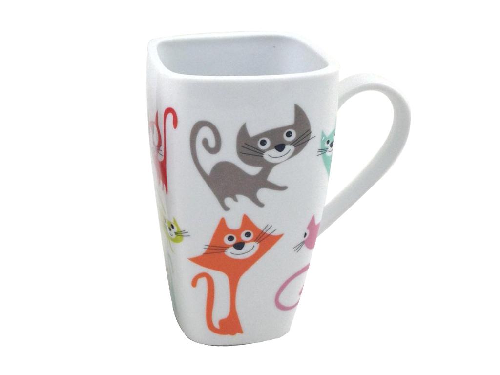 Home Elements porcelánový hrnek Barevné kočky 600 ml
