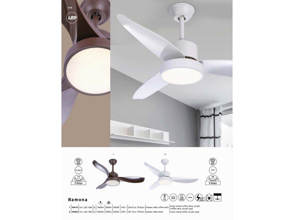 Ventilátor RAMONA 03610 GLOBO s osvětlením  * včetně světelného zdroje LED + dálkové ovládání *