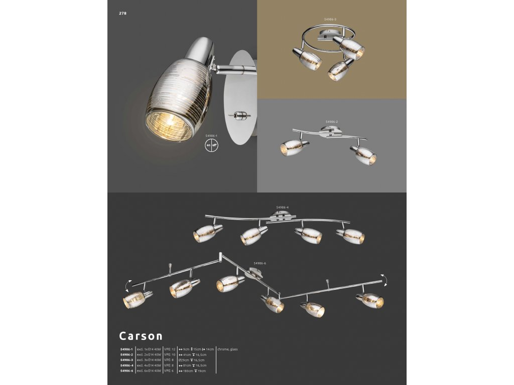Svítidlo CARSON 54986-4 GLOBO