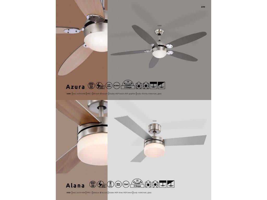 Ventilátor ALANA 0333 GLOBO s osvětlením
