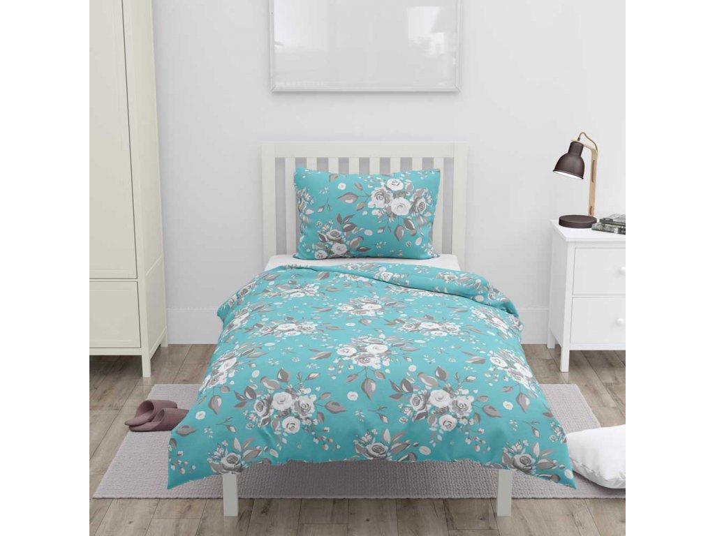 bavlna  obliečky na jednolôžko, modré, ruže
