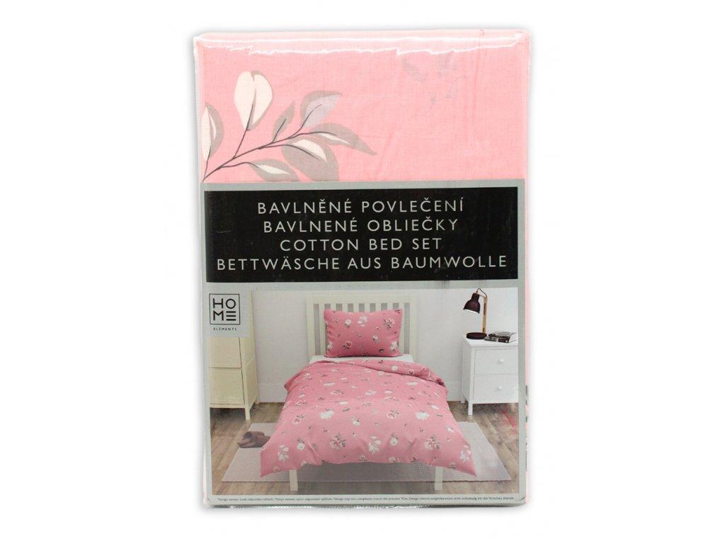 bavlna obliečky na jednolôžko,  ružové, kvetinka