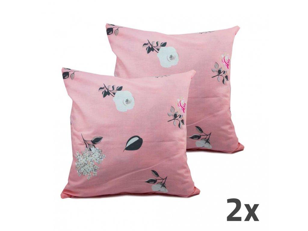 Povlak na vankúš, ružový, kvetinky, sada 2 ks