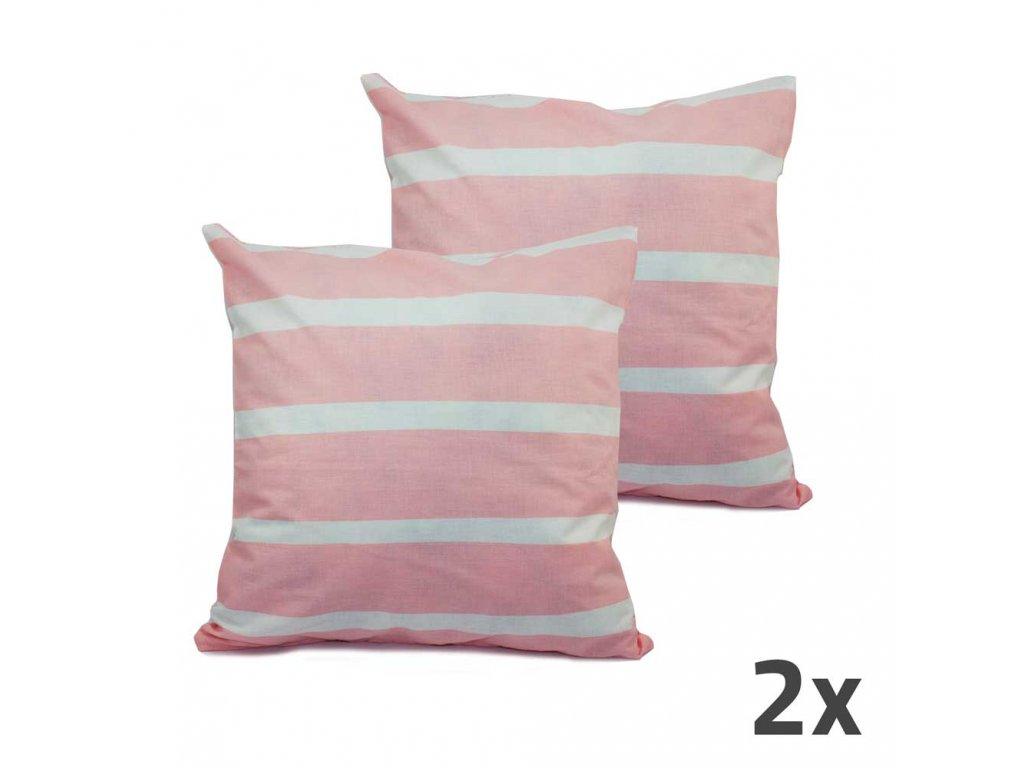 Povlak na vankúš, ružová, biele prúžky, sada 2 ks, II. akosť