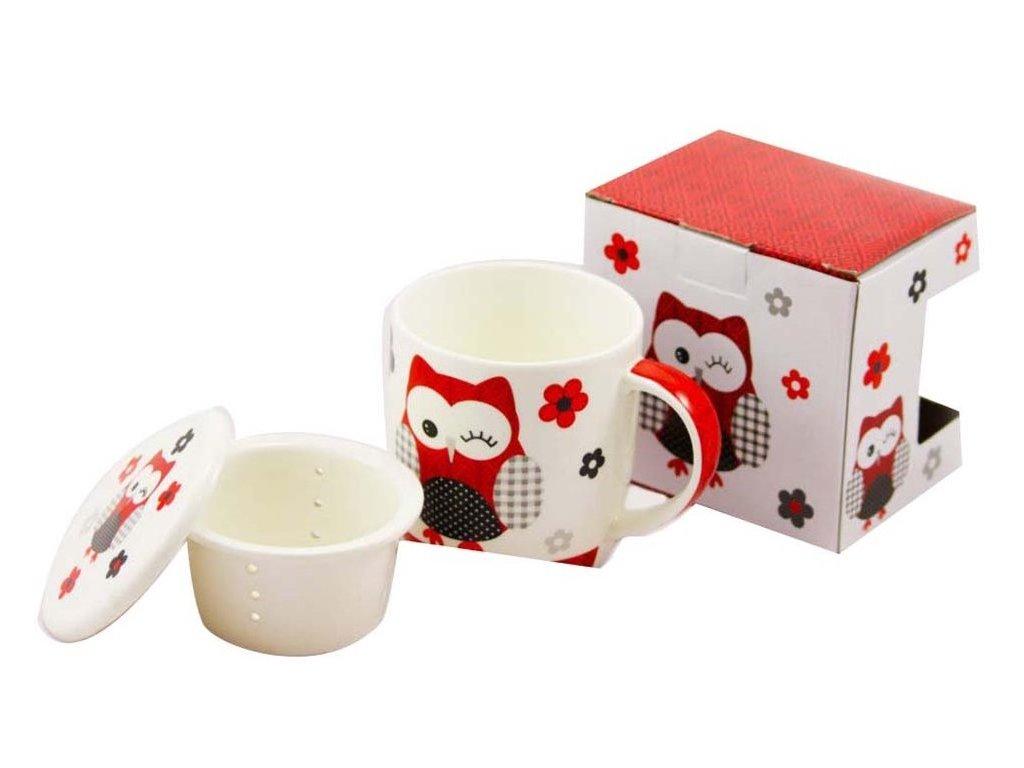 Porcelánový hrnček 390 ml so sitkom a viečkom - červená sova