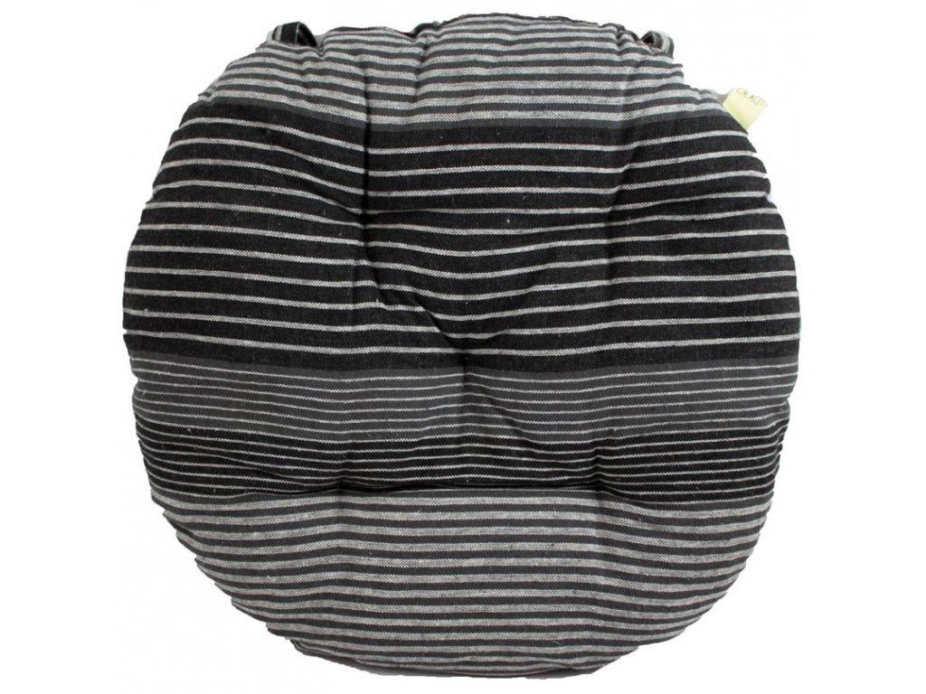 Okrúhly prešívaný podsedák, Ø 40 cm, kockovaný, šedé prúžky