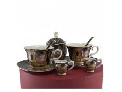 Porcelánový set - šapo sady, mliečenka a cukornička - Klimt