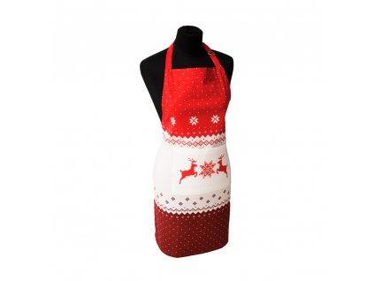 Vianočná kuchynská zástera so sobíkom, 60*80 cm,  červená