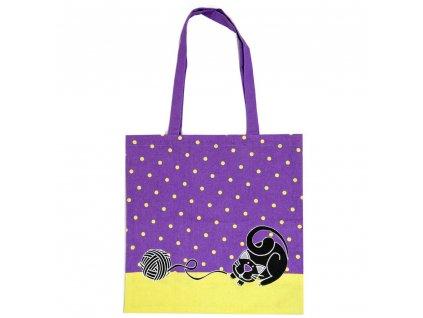 Látková taška s mačkou, Fialová