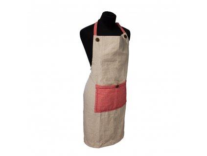 Kuchynská zástera z recyklovanej bavlny, 70 x 85 cm,  béžová + červená