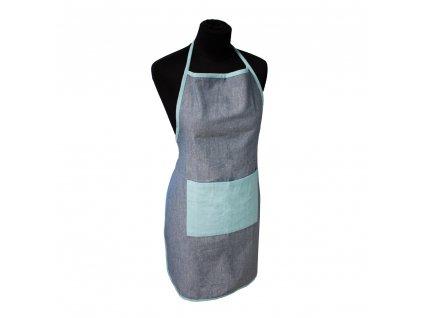 Kuchynská zástera z recyklovanej bavlny, 60*80 cm, modrá