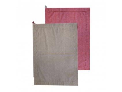 Utierka z recyklovanej bavlny, 2 ks, 50 x 70 cm, béžová + červená