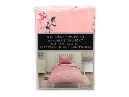 bavlna obliečky na jednolôžko,  obojstranné, ružové a svetlo šedé