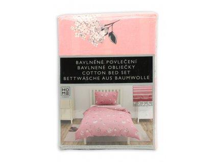 bavlna obliečky na jednolôžko, obojstranné,  ružové