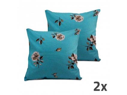 Povlak na vankúš, modrý, kvetiny,  sada 2 ks