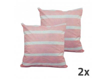 Povlak na vankúš, ružová, biele prúžky, sada 2 ks