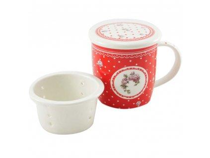 Porcelánový hrnček Elegant red so sitkom a vekom 390 ml - biele bodky
