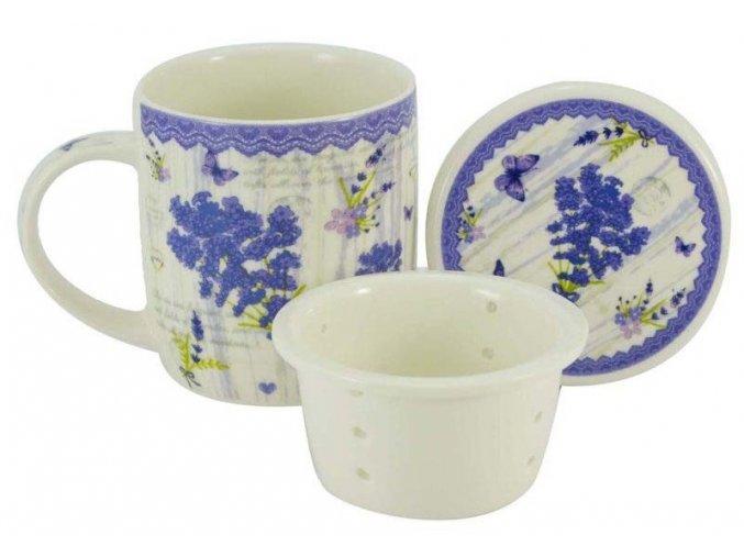 17370 porcelanovy hrnek 390 ml se sitkem a vickem nova levandule