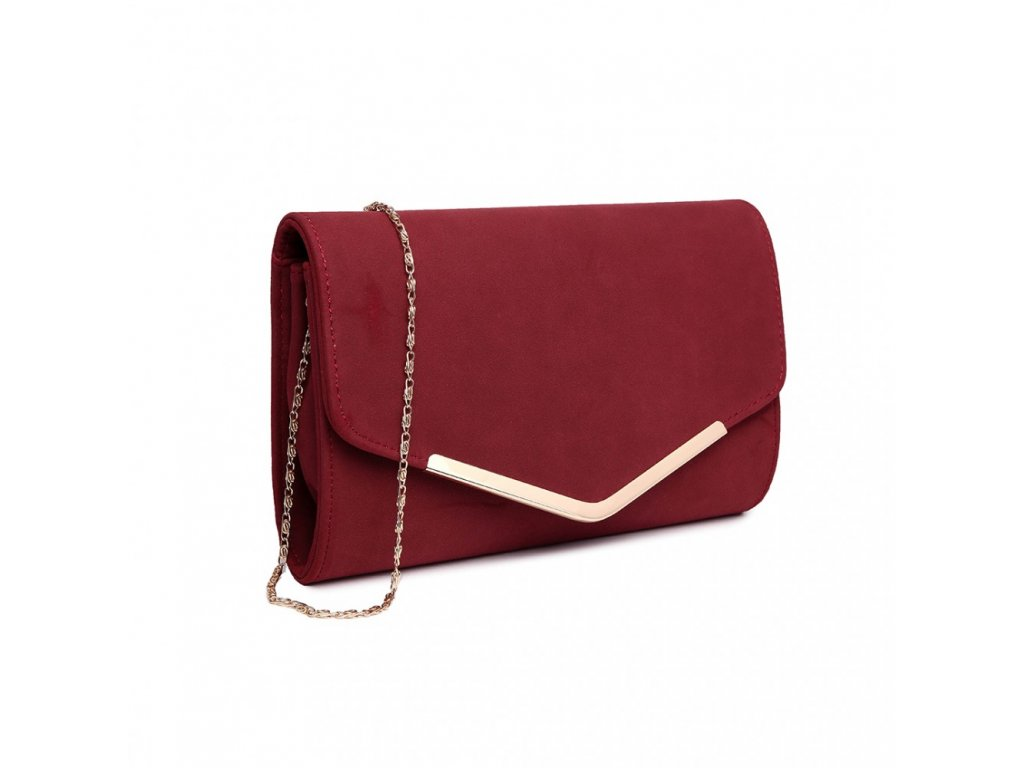 Elegantní večerní kožená kabelka psaníčko LH1756 - bordó - ModexaStyl.cz 7915991707c