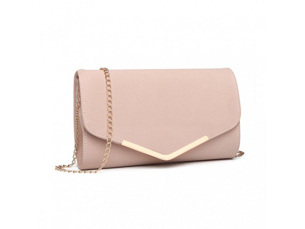Elegantní večerní kožená kabelka psaníčko Miss Lulu LH1756 růžová ModexaStyl (3)