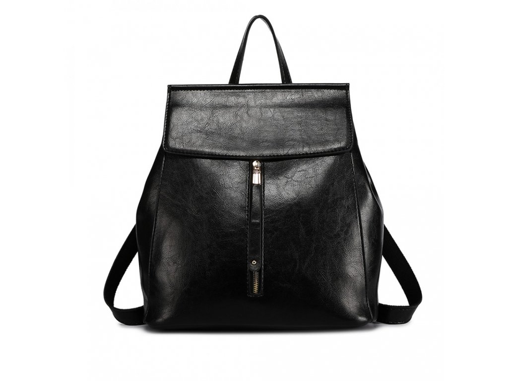 2v1 dámský kožený batoh a kabelka přes rameno E6833 - černý ... bdd8bf30fd