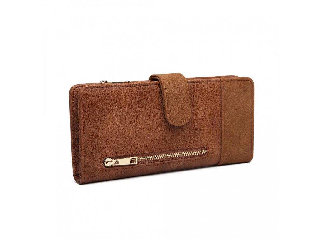 Dámská velká peněženka z umělé kůže Miss Lulu hnědá LN6883 BN (4)