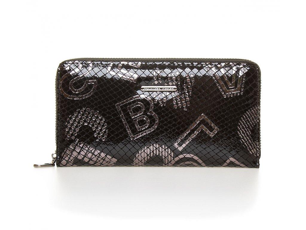 Velká dámská kožená peněženka na zip Jennifer Jones 5247 6 černá (2)