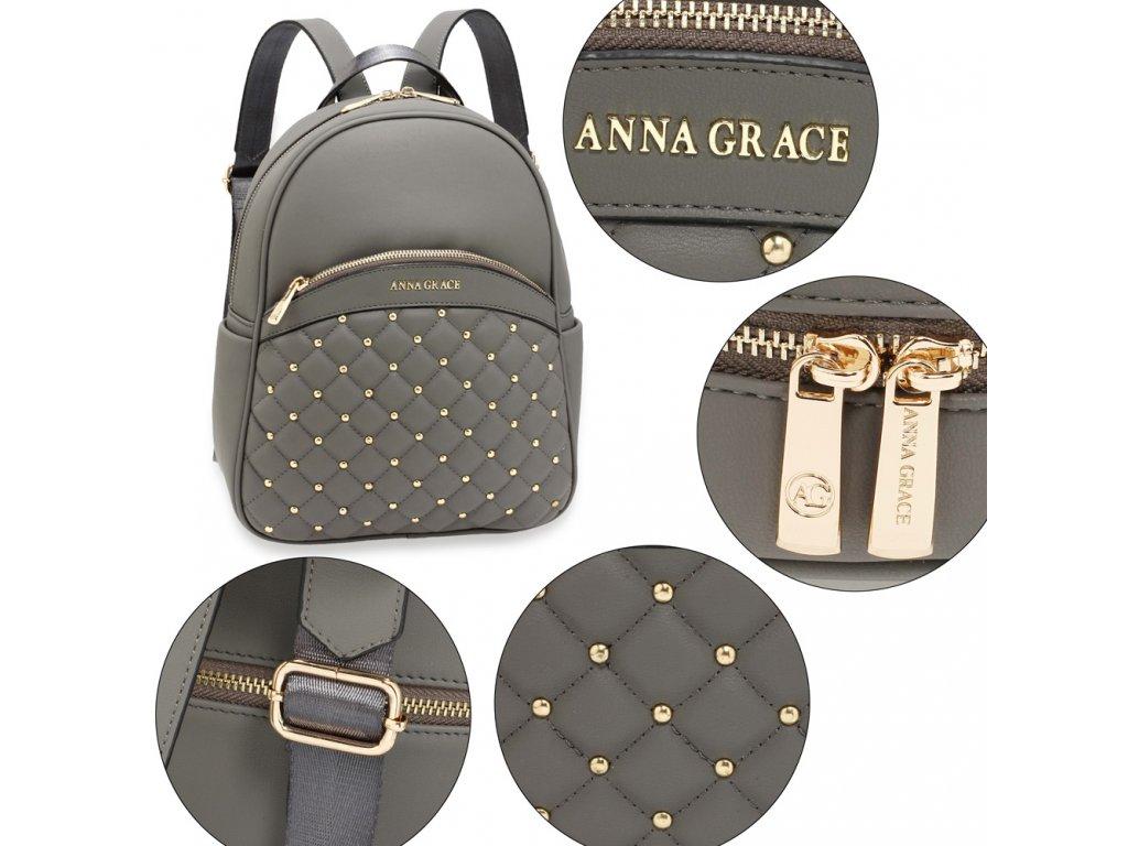 ... Dámský kožený batůžek Anna Grace šedý AG00590 GY (6) ... fa144819e0