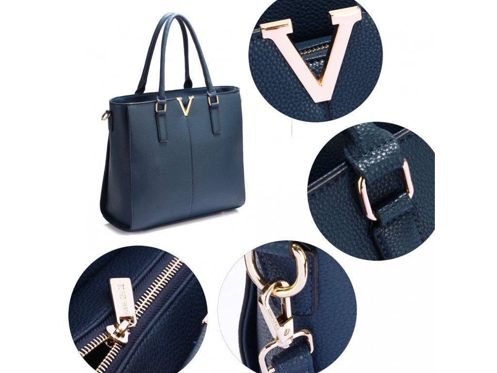 66cb1b2737 ... Dámská kabelka do ruky a přes rameno modrá Anna Grace AG00420 NAVY (1)  ...