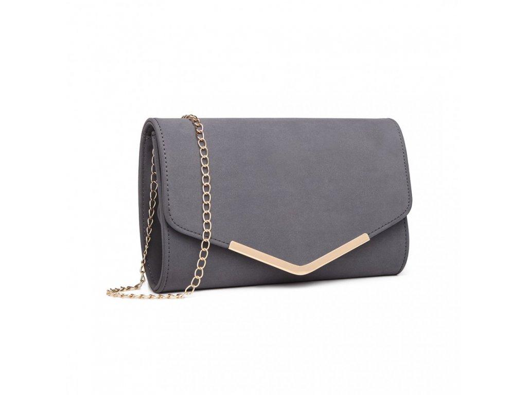 Elegantní večerní kožená kabelka psaníčko Miss Lulu LH1756 šedá ModexaStyl (3)